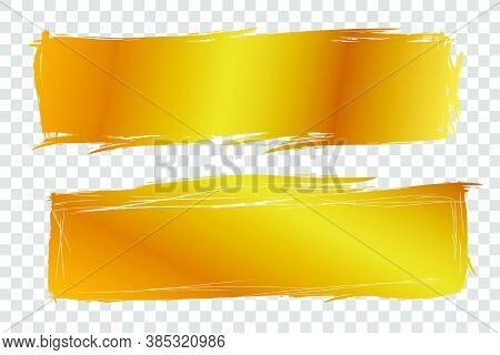 2 Hand Draw Streak Sketch Golden Rectangle Frame For Your Element Design, Transparent Effect Backgro