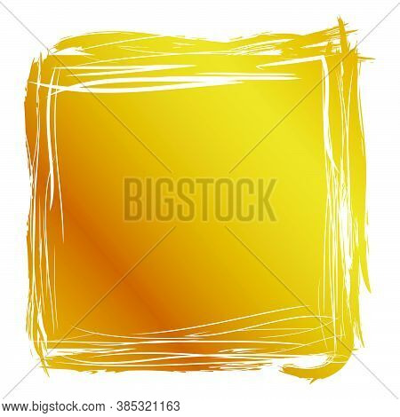 Hand Draw Streak Sketch Golden Square Frame For Your Element Design, Isolated On White.