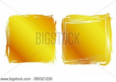 2 Hand Draw Streak Sketch Golden Square Frame For Your Element Design, Isolated On White.