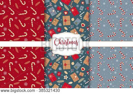 Set Of Festive Christmass Seamless Patterns With Christmas Gifts, Candies And Christmas Decorations.
