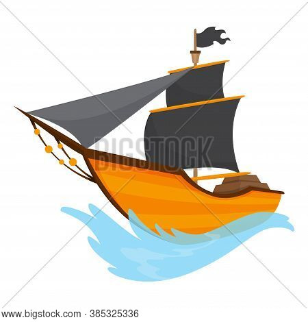 Stylized Cartoon Pirate Ship Illustration With Black Sails. Cute Vector Drawing. Pirate Ship Sailing