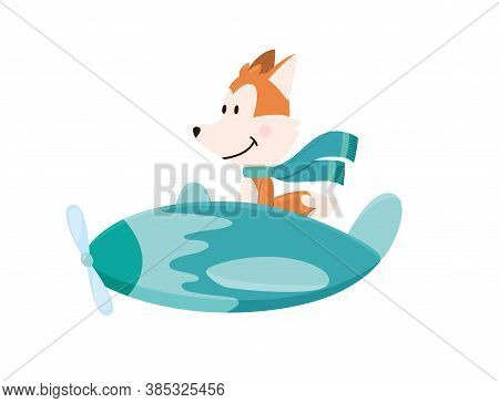 Cute Fox Flying An Airplane With Scarf Fluttering. Funny Pilot Flying On Planes. Cartoon Vector Illu