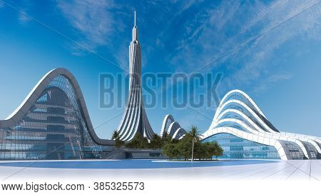 3d Illustration Of A Futuristic City Architecture With A High Rise Surrounded By Organic Structures,