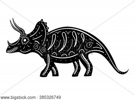 The Stylized Silhouette Of Triceratops Decorated With Patterns. Vector Illustration