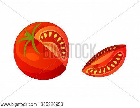 Tomato. Chopped Tomato Isolated On White Background. Vector Fresh Red Tomato. Single Slice Tomato