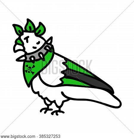 Punk Rock Pigeon Vector Illustration Clipart. Simple Alternative Sticker. Kids Emo Rocker Cute Hand
