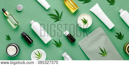 Hemp Cbd Oil Serum In Glass Dropper Bottle, Cannabis Leaves, Moisturizing Cream, Serum, Lotion, Esse