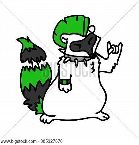 Punk Rock Raccoon With Mohawk Illustration Clipart. Simple Alternative Sticker. Kids Emo Rocker Cute