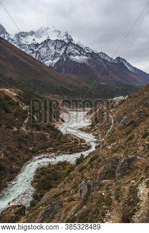 River Near Pangboche Village On The Way To Everest Base Camp. Sagarmatha National Park, Nepal