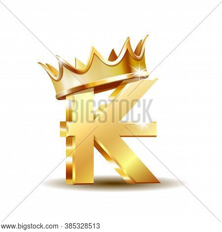 Laos Kip Currency Symbol With Golden Crown, Golden Money Sign