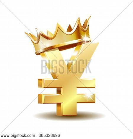 Shiny Golden Yen Currency Symbol With Golden Crown Isolated On White.
