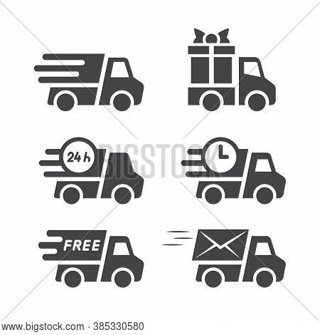 Delivery Truck Black Vector Icon Set. Truck Or Lorry, Cargo And Shipping Icons, Fast Speed Marks, Gi