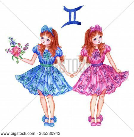 Sign Of The Zodiac Twins, Watercolor Illustration. The Girl's Horoscope. Two Girls Are Twins.