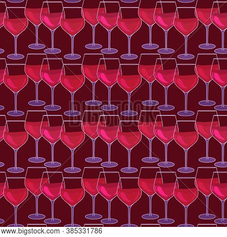 Glasses With Red Wine. Seamless Pattern With Wineglasses. Wine Event Surface Design. Vector Illustra