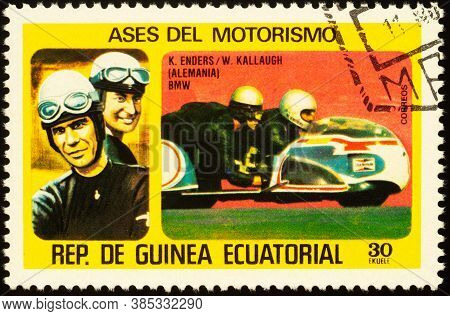 Moscow, Russia - September 14, 2020: Stamp Printed In Equatorial Guinea Shows German Road Sidecar Ra