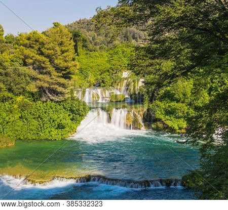 Waterfalls Skradinski Buk On A Sunny Day. Krka National Park, Croatia.