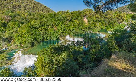 Cascading Waterfalls Skradinski Buk On A Sunny Day. Krka National Park, Croatia.