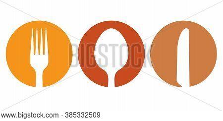 Spoon Fork And Knife Icon Vector Illustration. White Silhouette Symbol Set Of Restaurant Utensil In