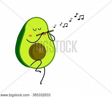 Avocado Plays The Flute On A White Background. Cartoon. Vector Illustration.