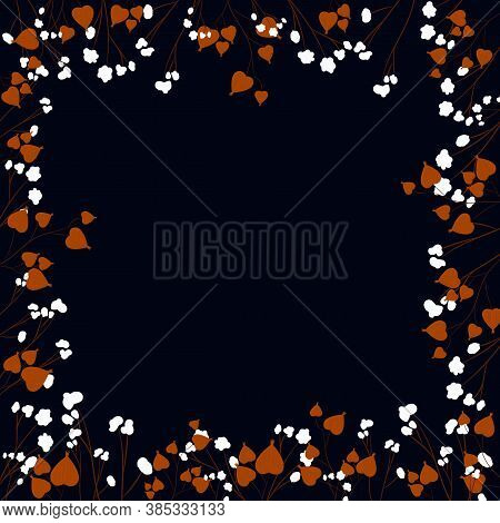 Autumn Greeting Card With Physalis And Cotton Branches On Dark Background Template