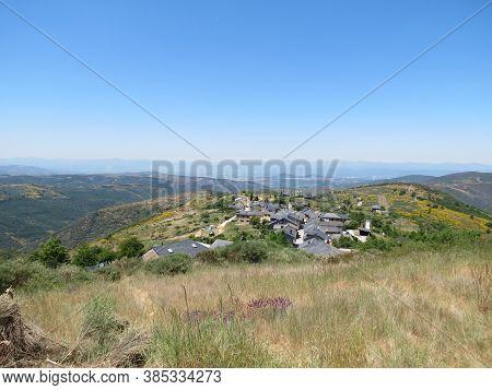 View Of A Village El Acebo From Montes De Leon, Spain, On Camino De Santiago Pilgrimage Route