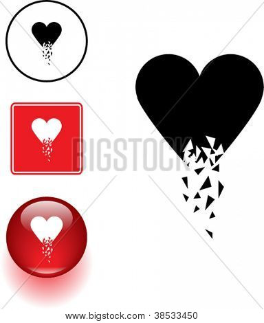 broken heart symbol sign and button