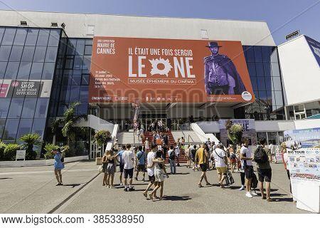 Cannes, France - August 15: Main Entrance Of The Palais Des Festivals Et Des Congres, Cannes, Cote D