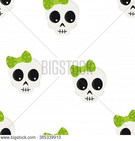 Seamless Pattern Of Cartoon Skulls With Bow, Background With Cute Skull Faces, Vector Texture Illust