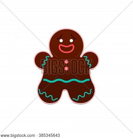 Gingerbread Man Vector Illustration In Flat Design Isolated Icon Of Cute Brown Gingerbread With Icin