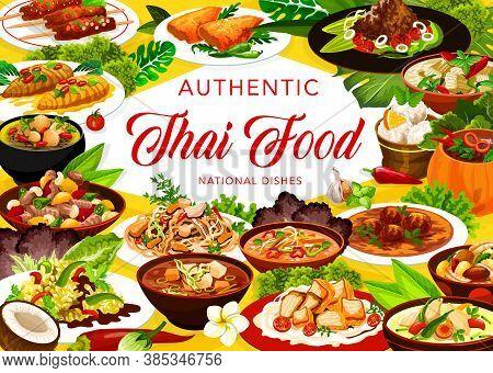 Thai Cuisine Restaurant Menu Meals Vector Banner. Chicken Pad, Miso And Tom Yum Soup, Shrimp Broth,