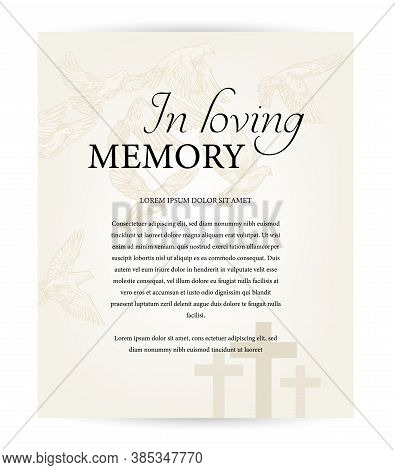 Funeral Card Vector Template, Vintage Condolence Obituary With Typography In Loving Memory, Cemetery