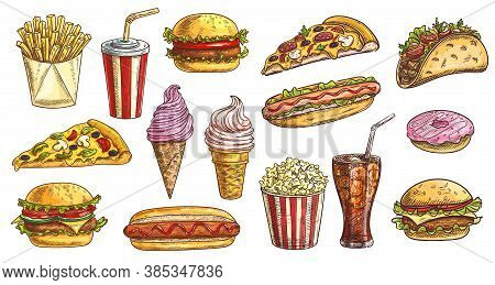 Sketch Fast Food Meals Isolated Vector Icons Ice Cream In Waffle Cone, Soda Drink With Ice Cubes And