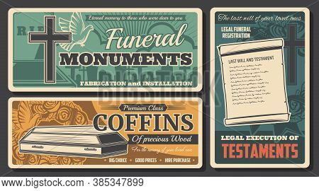 Funeral Service, Burial Coffins And Rip Monuments, Death Farewell Ceremony Agency, Vector Posters. F