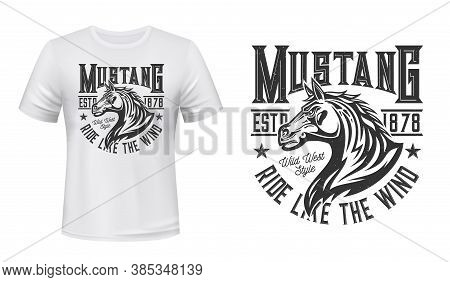 Wild Mustang Stallion T-shirt Vector Print. Horse Stallion Head With Waving Mane Illustration And Ty