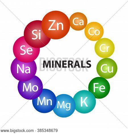 Mineral Supplement Set. Multivitamin Complex For Health. Essential Vitamin Icons. Calcium Cobalt Chr