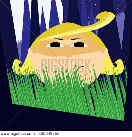 A Gloomy Child With Yellow Hair Hides In The Grass At Night And Watches