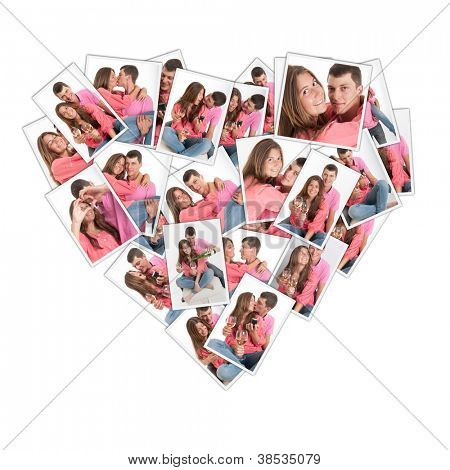 Heart shaped collage with pictures of a young couple
