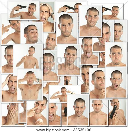 Collage of images of the same young man with different expressions