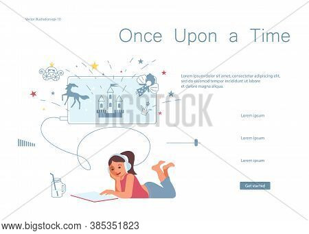 Landing Web Page Template Of Home Schooling. Little Girl Pupil Of Elementary School Lying On Your St