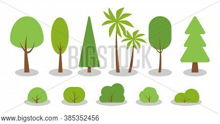 Green Spring Cartoon Trees, Bushes Flat Icon Set. Simple Different Shape Eco Organic Plant Sign. Sum