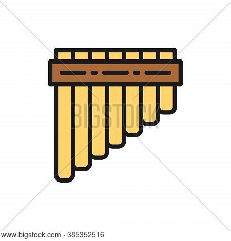 Pan Pipes, Bamboo Peruvian Flute Flat Color Line Icon.