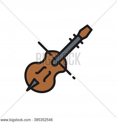 Violin, Violoncello, Cello, String Musical Instrument Flat Color Line Icon.