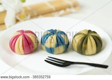 Japanese Traditional Confectionery Cake Wagashi Or Temari Mooncake