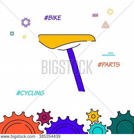 Bicycle Saddle Filled Line Vector Icon, Simple Illustration, Related Bottom Border.