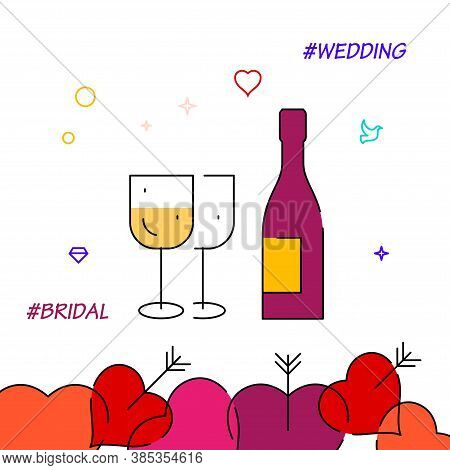 Wedding Feast Filled Line Vector Icon, Simple Illustration, Wedding Related Bottom Border.