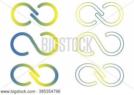 Infinity Symbol. Color Set Of Logos Infinite. Colorful Loops. Bright Ribbons. Vector Illustration.