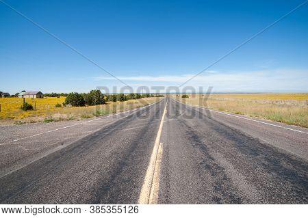 Long Straight Flat Road Ahead Through Arizona Landscape.