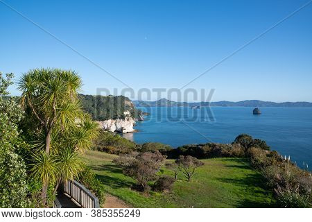 Coastal Outlook From Car Park For Cathedral Cove Walk At Hahei Coromandel New Zealand.