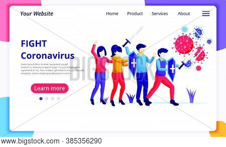 People Fight With Virus, Fight Covid-19, Vaccine Cure For Corona Virus Concept. Modern Flat Web Page