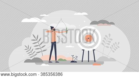 Archery As Aim Arrows Accuracy Sport And Target Reaching Tiny Person Concept. Business Precision As